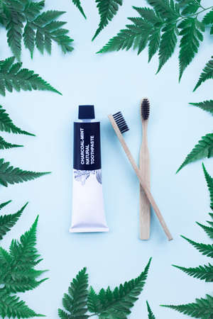 Two eco bamboo toothbrushes and charcoal mint natural toothpaste on blue background with fern leaves. Eco friendly concept. Zero waste. Top view.