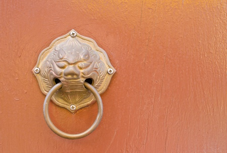 Doorknob on background photo
