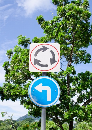 Traffic Circle Sign in the park