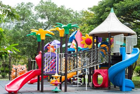 Dirty  children playground equipment in a park