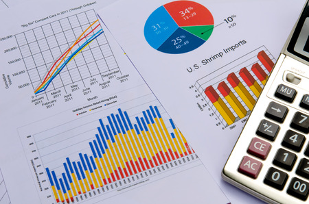 business graph or charts with calculator