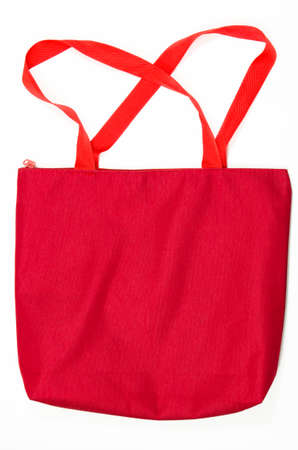 red hand: red hand bag on white