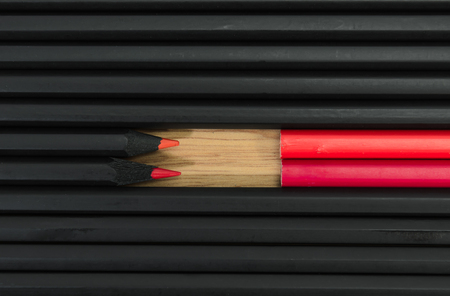 non conformist: red color in black pencils