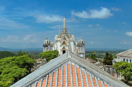 the ancient palace is sitting on top of hill at petchburi province, thailand
