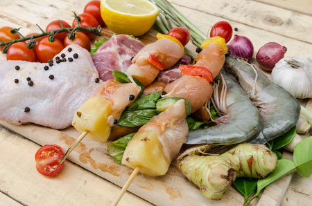 A set of seafood and vegetables