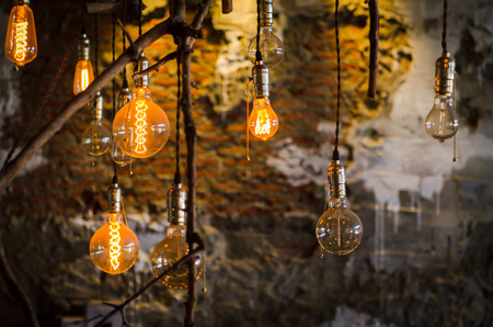 The retro lightings decor are in a coffee shop Stock Photo