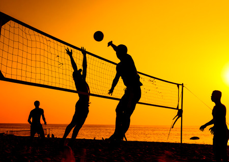 A beach volleyball is a popular sport in Thailand. Stock Photo