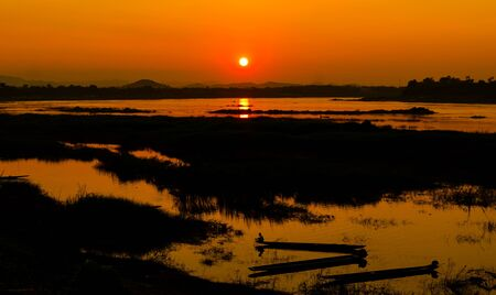 khong river: The sunset at Khong river, Loei province, Thailand.