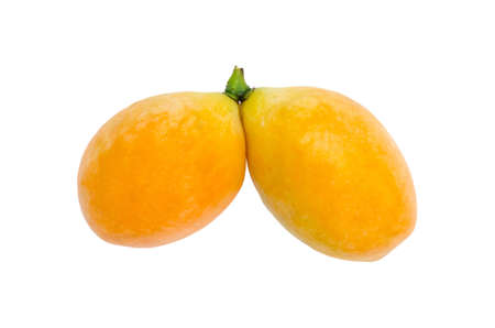 The marian plum or maprang fruit is on white background. Stock Photo