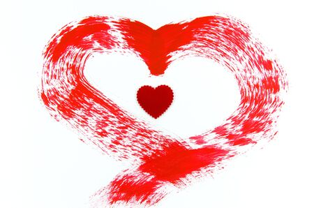 A red heart is on white background Stock Photo