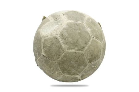 The old football is on white background.