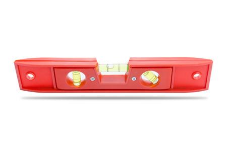 A orange level tool is on white background.