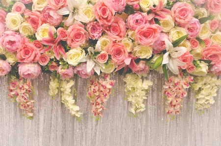 flower wedding decoration with vintage tone style