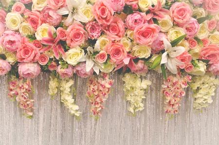 flower wedding decoration with vintage tone style