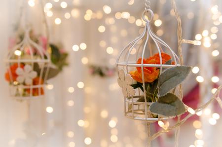flower birdcage wedding decoration Stock Photo