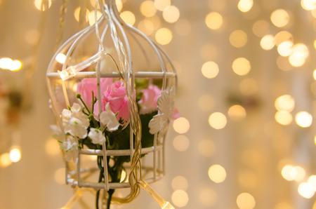 flower hanging birdcage wedding decoration