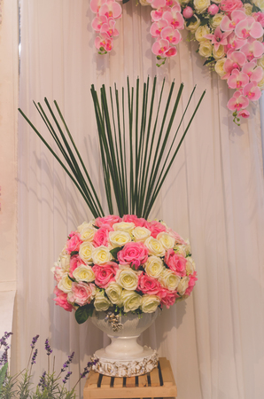 flower decoration for wedding ceremony with vintage tone Stock Photo
