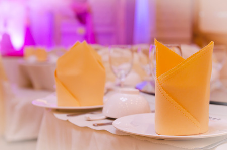 wedding decoration table for dinner Stock Photo