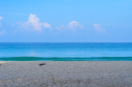 The blue sky with blue sea and beach sand