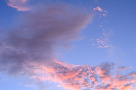 The blue and red sky in evening