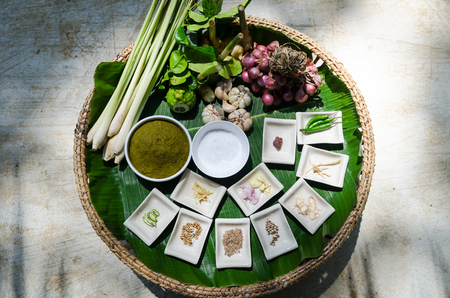 green curry ingredient herbs Stock Photo