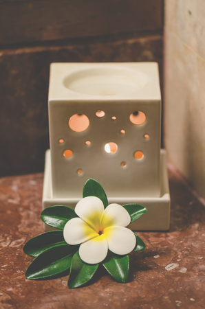 burner spa and flower for decoration vintage style Stock Photo