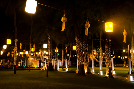 decoration lights in a garden design for party