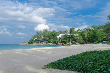 beach, blue sea with blue sky and cloud in summer in morning time at Kata beach, Phuket, Thailand Stock Photo