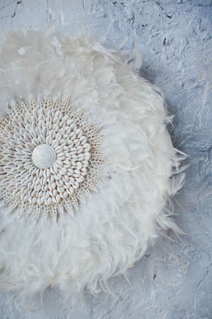 decoration of feathers and shells