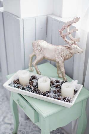Christmas decorations and candles Zdjęcie Seryjne
