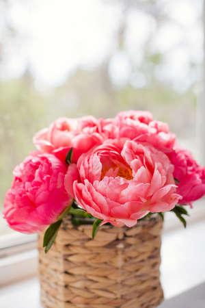Bouquet of coral peonies in wicker basket on a windowsill