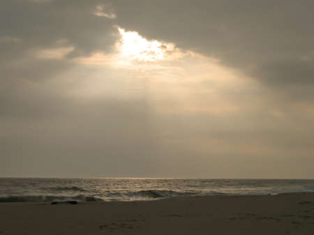 to clarify: Sun sets on Atlantic Ocean Stock Photo