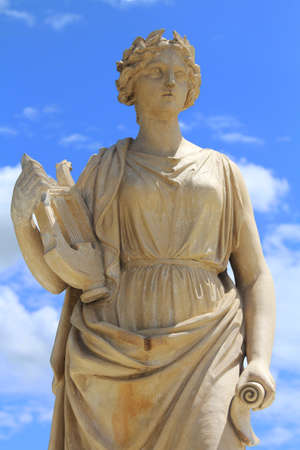 Marble sculpture of a pleasant woman  Handcrafted modern object in classical ancient greek style