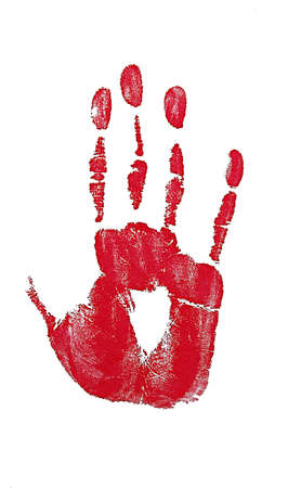 red handprint on white  photo