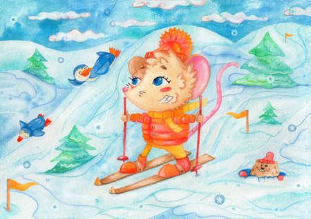 "watercolor children illutration ""February"": fun times outdoors Standard-Bild"
