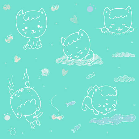 Cute cat vector illustration set Illustration
