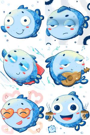 cute little fishie sticker pack. Doodle style clipart collection. digital children illustration Foto de archivo