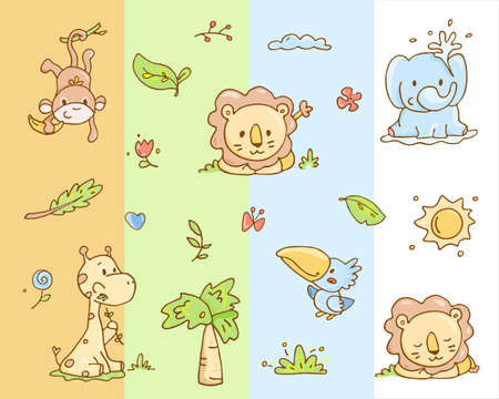 Cute baby animals and tropical plants set Illustration