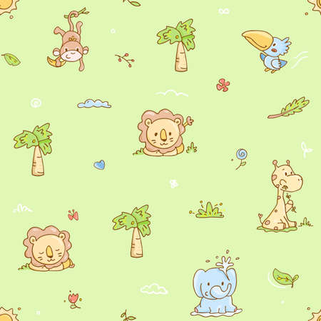 adorable seamless pattern with baby animals, tropical jungle theme on tender green background Illustration
