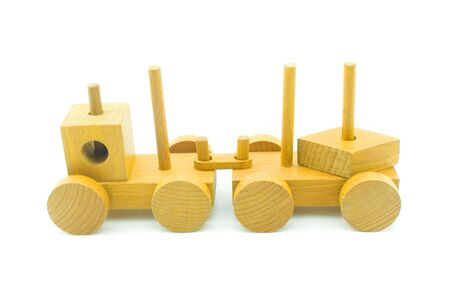 wood railroads: Train - childrens wooden toy isolated on a white background