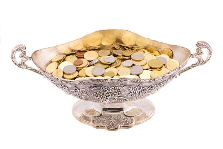 Money of the different countries the isolated combined in a brilliant vase