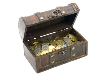 Wooden chest with coins inside isolated Stock Photo - 3858113