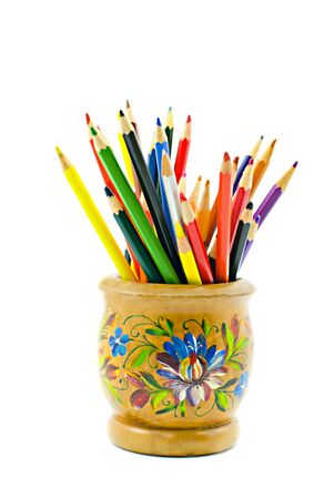 Color pencils in a bright support the isolated Stock Photo - 3858111