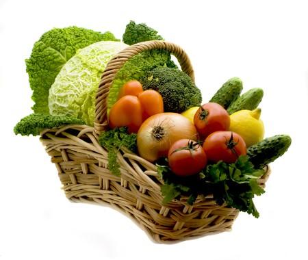 Juicy lemons, tomatoes, pepper, broccoli, onions, cabbage Stock Photo