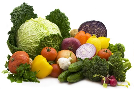 Juicy lemons, tomatoes, pepper, broccoli, onions, cabbage Stock Photo