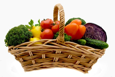 Juicy lemons, tomatoes, pepper, a broccoli, an onions and cabbage Stock Photo