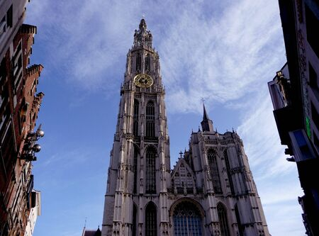 Holland, Antwerp, cathedral of  Mother of god against blue sky Stock Photo - 4371755