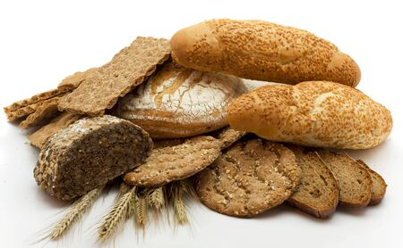 Bread of a different kind isolated on a white background photo