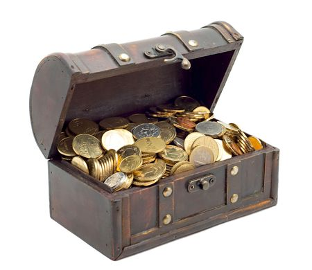 deposits:  Wooden chest with coins inside isolated