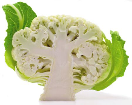 Cauliflower with leaves isolated on the white
